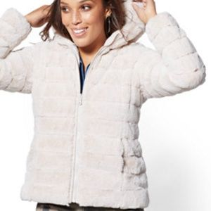 dd36f1910c New York & Company · Reversible Quilted Faux-Fur Hooded Coat